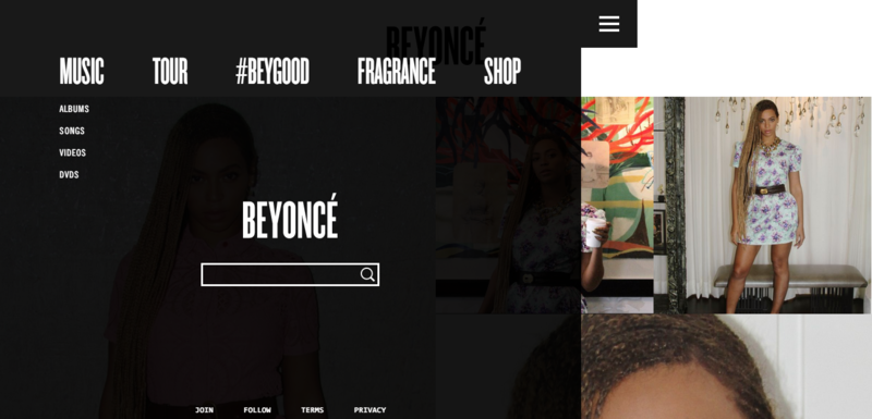 Homepage of Beyonce - nav