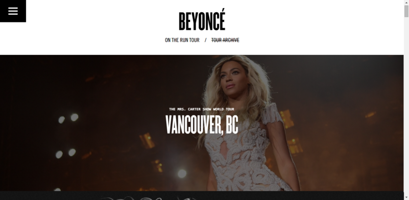 Homepage of Beyonce - archive